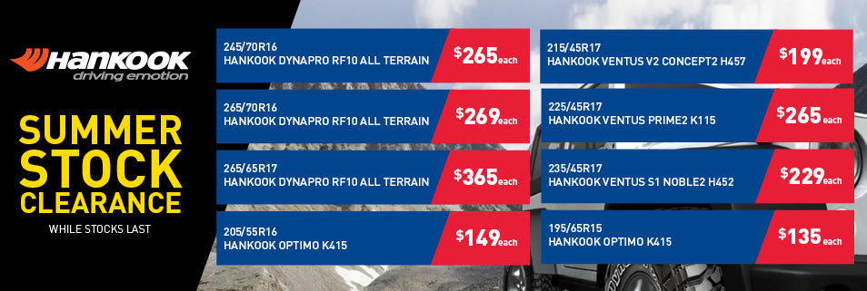 Hankook summer tyre bargains