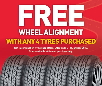 free wheel alignment with any 4 tyres purchased