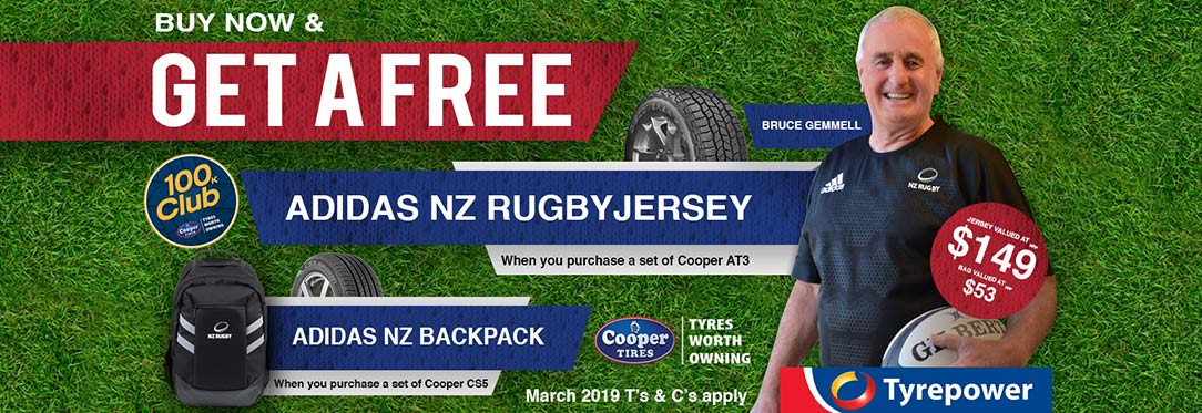 Get a Free All Blacks shirt this month at Tyrepower when you purchase a set of Cooper AT3 tyres