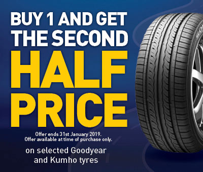 buy one tyre and get the second half price