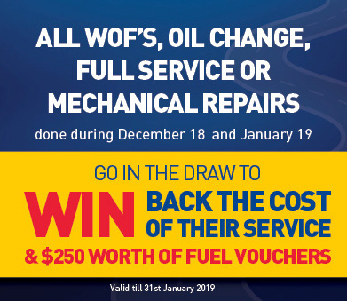 All WOFs Oil Change Full Service Or Machanical Repairs and go into the draw to win back the cost of their service & $250 worth of fuel vouchers