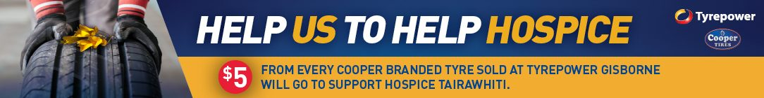 Tyrepower Gisborne is Donating $5 for every Cooper Tyre sold to support Tairiwhiti Hospice