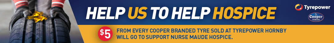 Tyrepower Hornby is Donating $5 for every Cooper Tyre sold to support Nurse Maude Hospice
