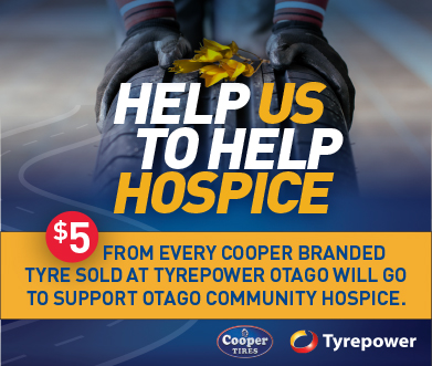 Tyrepower Otago will donate $5 from every Cooper Branded tyre to Support Otago Community Hospice