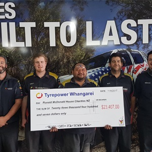 Thanks to you, Tyrepower Whangarei have now raised over $23,000 for charity! 1