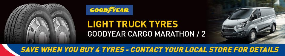 Save when you buy 4 Googdyear Cargo Marathon or Marathon 2 tyres - see in store for details