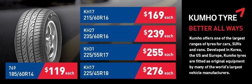 Latest Kumho Tyre Deals