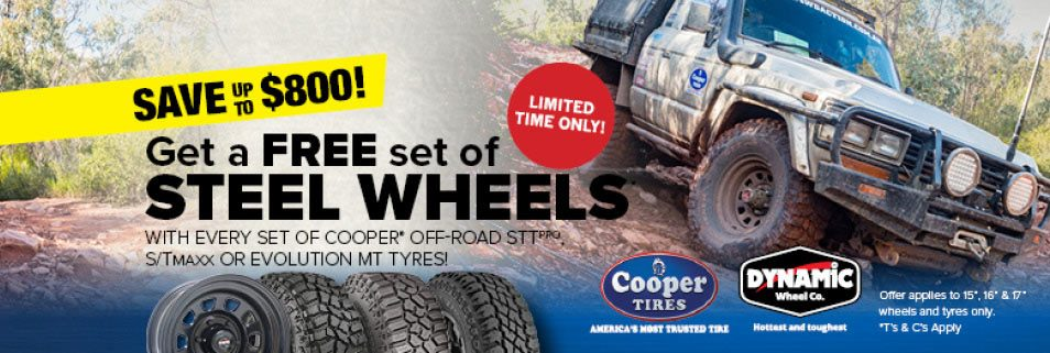 Save up to $800 - get a free set of Steel Wheels with every set of Cooper Off Road* STT Pro, S/T Maxx or Or Evolution M/T Tyres