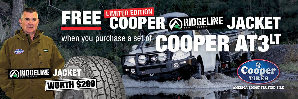 FREE Limited Edition Cooper Ridgeline Jacket* when you purchase a set of Cooper AT3LT tyres - only while stocks last