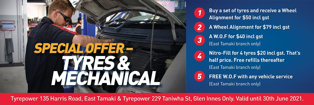 Latest tyre and mechanical offers from Harris Road and Gemmells Tyrepower Auckland