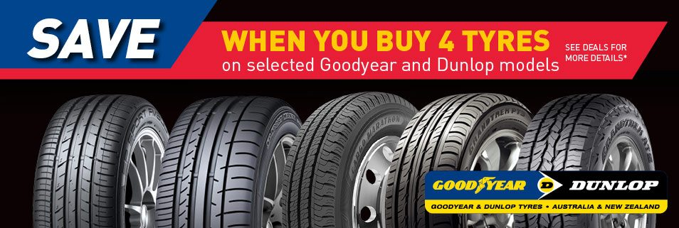 Save When you buy 4 tyres on selected Goodyear and Dunlop models