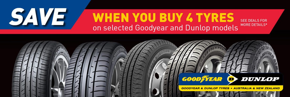 Save when you buy 4 tyres on Selected Goodyear & Dunlop models